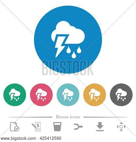 Stormy Weather Flat White Icons On Round Color Backgrounds. 6 Bonus Icons Included.
