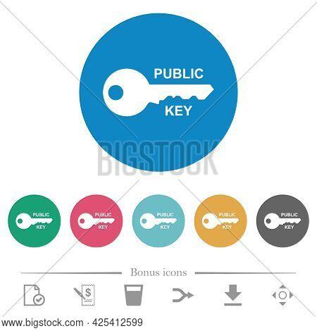 Public Key Flat White Icons On Round Color Backgrounds. 6 Bonus Icons Included.