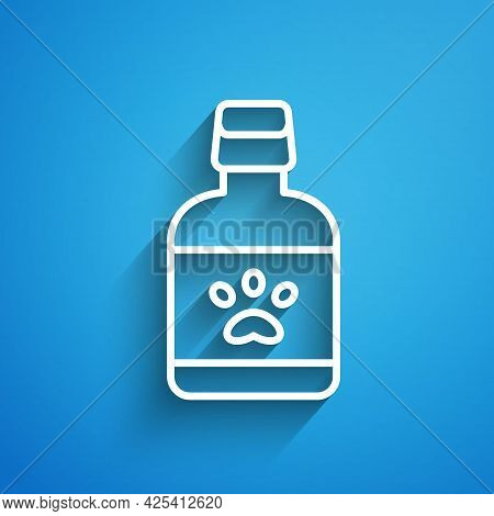 White Line Dog Medicine Bottle Icon Isolated On Blue Background. Container With Pills. Prescription