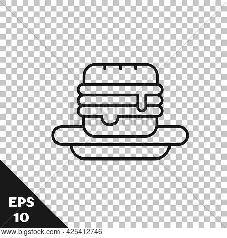 Black Line Junk Food Icon Isolated On Transparent Background. Prohibited Hot Dog. No Fast Food Sign.