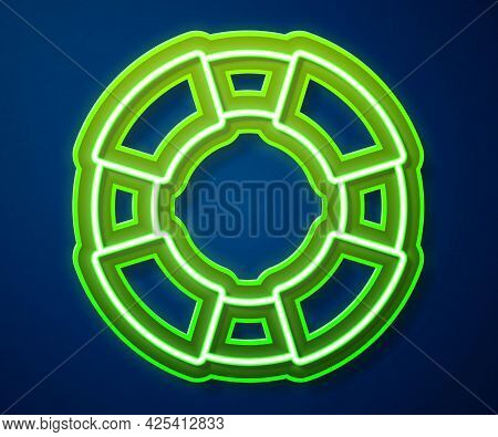 Glowing Neon Line Lifebuoy Icon Isolated On Blue Background. Lifebelt Symbol. Vector