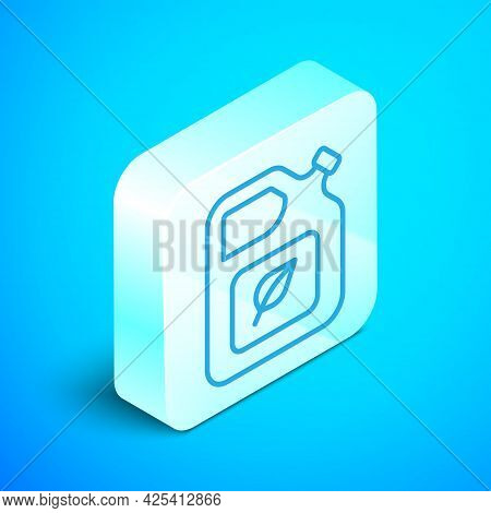 Isometric Line Bio Fuel Canister Icon Isolated On Blue Background. Eco Bio And Barrel. Green Environ