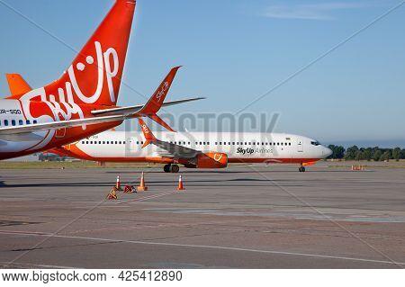 Ukraine, Kiev - August 13, 2020: Passenger Planes At The Airport. Skyup Airlines Ur-sqd