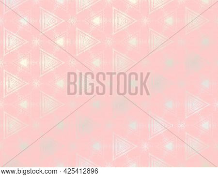 Abstract Pink And Silver Textured Pattern With Kaleidoscope Effect. Vector Illustration. Symmetric G