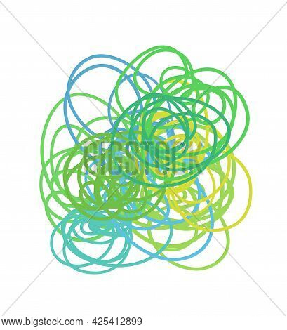 Colorful Tangled On White. Chaos Pattern. Scribble Sketch. Bright Background With Array Of Lines. In