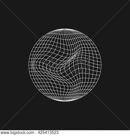 Retrofuturistic Planet Shape With Liquid, Glitch Effect. Cyberpunk Geometry Of Planet. Circle Geomet