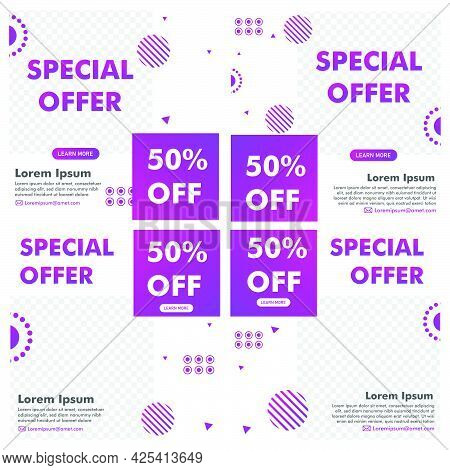 Promotion Post Design. Promotion Banner Template. Ready Use Vector Design Template.