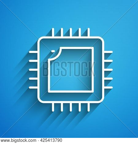 White Line Computer Processor With Microcircuits Cpu Icon Isolated On Blue Background. Chip Or Cpu W