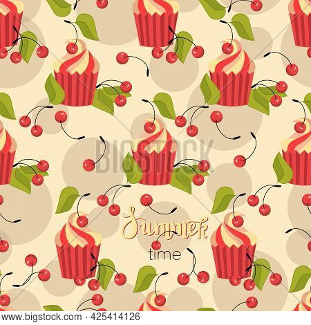 Cherry Muffin. Ripe Berries, Cake On Light Background. Seamless Pattern. Cherry Berry With Leaves.