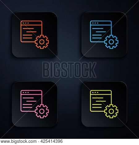 Color Neon Line Computer Api Interface Icon Isolated On Black Background. Application Programming In