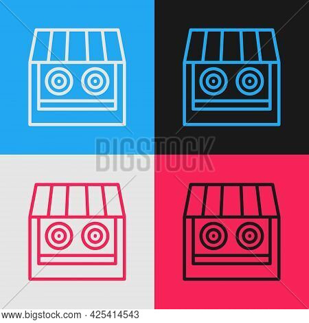 Pop Art Line Shooting Gallery Icon Isolated On Color Background. Shooting Range. Vector