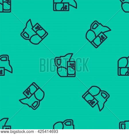 Blue Line Milk Jug Or Pitcher And Glass Icon Isolated Seamless Pattern On Green Background. Vector