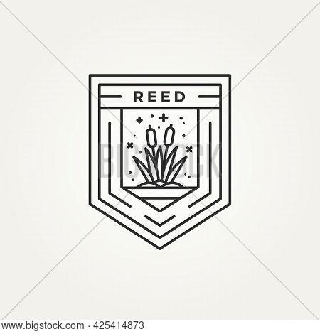 Reed Minimalist Line Art Badge Logo Vector Illustration Design. Simple Modern Reed, River Plant, Cre