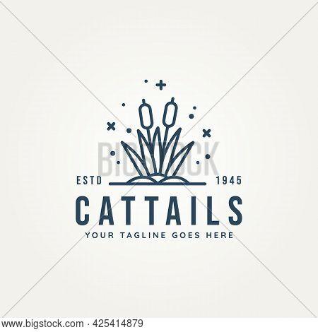 Cattail Above The Water Minimalist Line Art Logo Vector Illustration Design. Simple Modern Creek Log