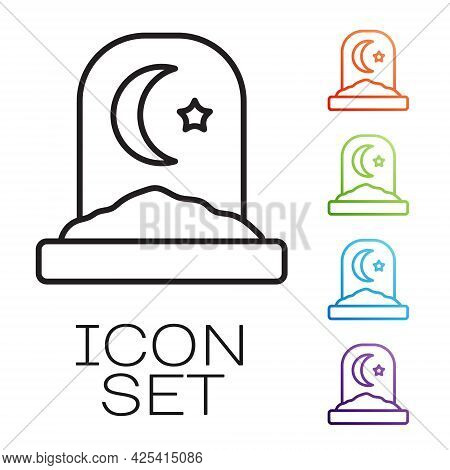 Black Line Muslim Cemetery Icon Isolated On White Background. Islamic Gravestone. Set Icons Colorful