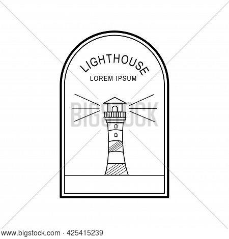 Lighthouse Badge Logo Monoline Style Design Isolated On White Background