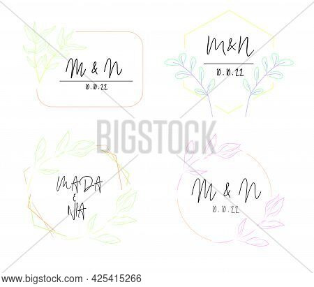 Set Of Save Date Invitations, Thank You Invitations, Modern Rsvp Card Design On Ornamental Plant Bra