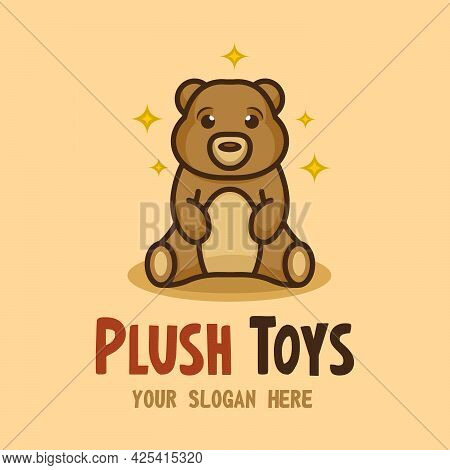 Cute Vector Teddy Bear Sitting And Shining. Plush Toy Logo. Element For Toy Store.