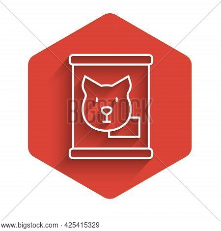 White Line Canned Food Icon Isolated With Long Shadow Background. Food For Animals. Pet Food Can. Do