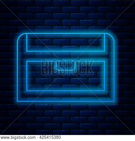 Glowing Neon Line Antique Treasure Chest Icon Isolated On Brick Wall Background. Vintage Wooden Ches
