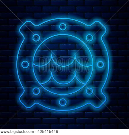 Glowing Neon Line Ship Porthole With Rivets And Seascape Outside Icon Isolated On Brick Wall Backgro