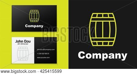 Logotype Line Wooden Barrel Icon Isolated On Black Background. Alcohol Barrel, Drink Container, Wood