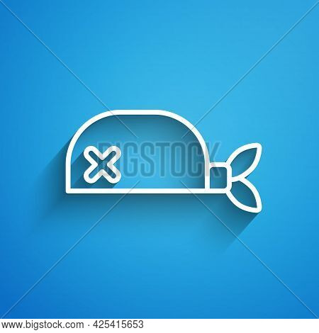 White Line Pirate Bandana For Head Icon Isolated On Blue Background. Long Shadow. Vector