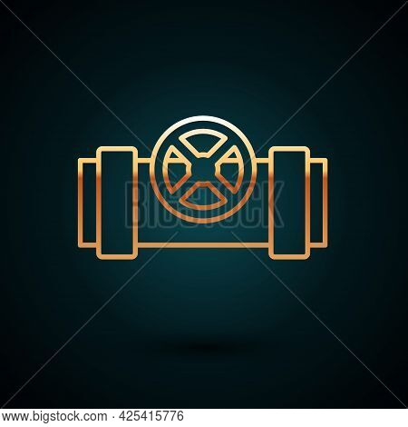 Gold Line Industry Metallic Pipes And Valve Icon Isolated On Dark Blue Background. Vector