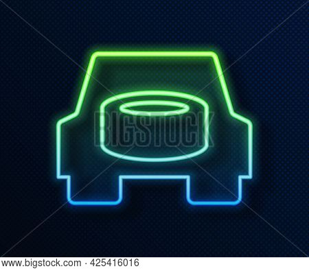 Glowing Neon Line Spare Wheel In The Car Icon Isolated On Blue Background. Process Of Replacing The