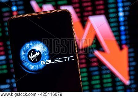 Kazan, Russia -  July 01, 2021: Virgin Galactic Is Company Developing Commercial Spacecraft. Virgin