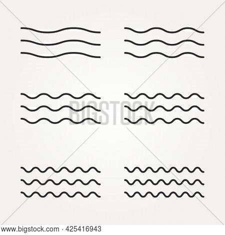 Bundle Set Of Ocean, Lake, And River Waves Icon Variety Concept