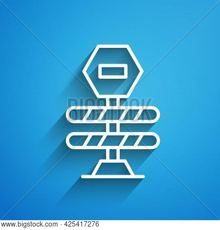 White Line Road Barrier Icon Isolated On Blue Background. Symbol Of Restricted Area Which Are In Und