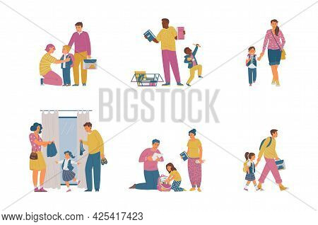 Back To School Vector Collection. Parents With Children Getting Ready For School, Buying Supplies, U