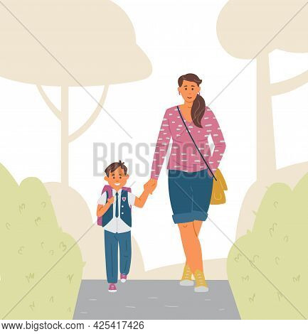 Mother And Son Going To School. Primary School Boy In Uniform With Backpack Holding Mother's Hand. V