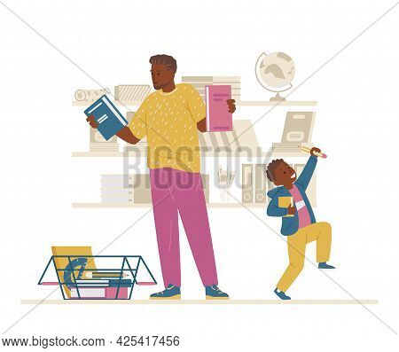 African American Family Buying School Supplies. Father And Son Firstgrader Getting Ready For School