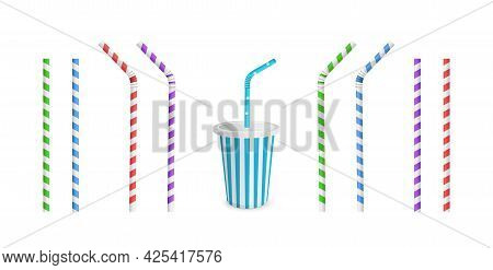 Drinking Striped And Color Straws For Beverage. Straw And Cup Isolated On White Background.