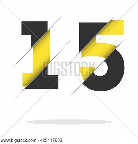 15 1 5 Number Logo Design With A Creative Cut And Black Circle Background. Creative Logo Design.