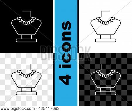Set Line Necklace On Mannequin Icon Isolated On Black And White, Transparent Background. Vector