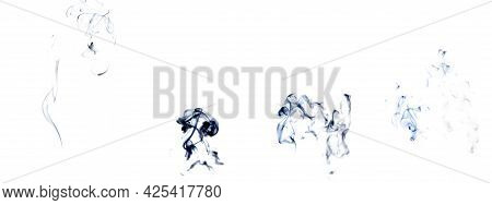 Smoke Set White Background. Blur Abstract Fog Group, Black Smoke Or Steam Mist Cloud Isolated On Whi