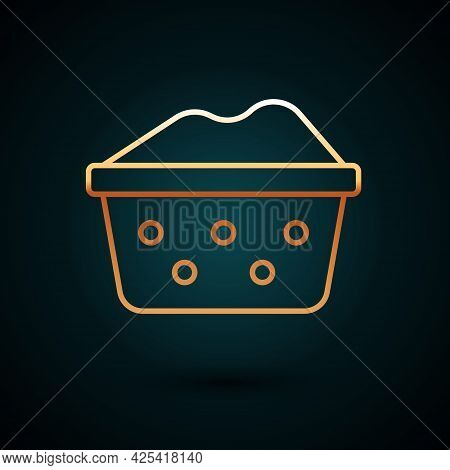 Gold Line Plastic Basin With Soap Suds Icon Isolated On Dark Blue Background. Bowl With Water. Washi