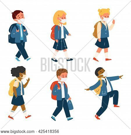 Vector Set Of Different Race Pupils In Uniform With School Bags In Protective Masks Walking. Back To