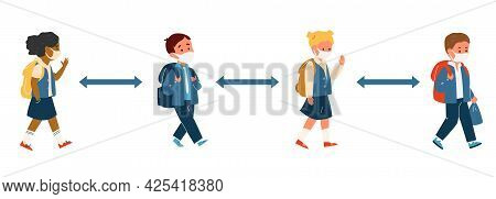 Group Of Kids Different Race In School Uniform In Protective Masks With Backpacks Walking Keeping So