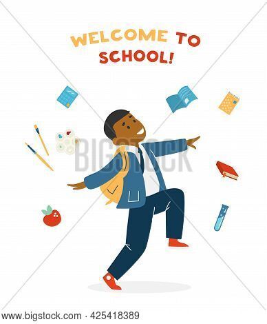 Vector Welcome To School Card With Cute African American Smiling Boy In Uniform With School Bag Jump