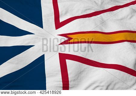 Full Frame Close-up On A Waving Flag Of Newfoundland And Labrador (canada) In 3d Rendering.