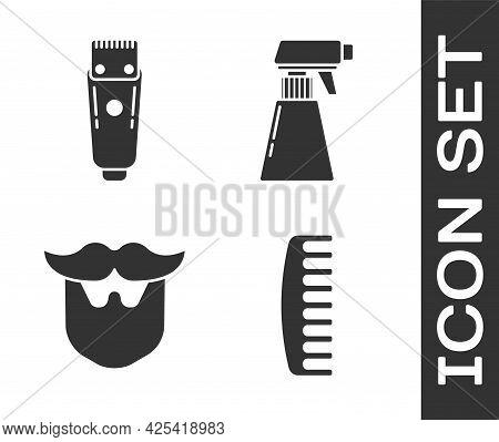 Set Hairbrush, Electrical Hair Clipper Or Shaver, Mustache And Beard And Hairdresser Pistol Spray Bo