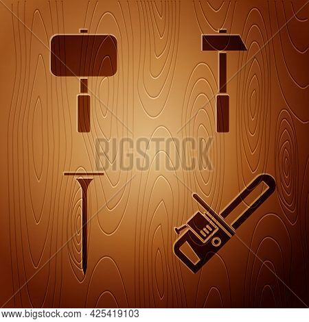 Set Chainsaw, Sledgehammer, Metallic Nail And Hammer On Wooden Background. Vector