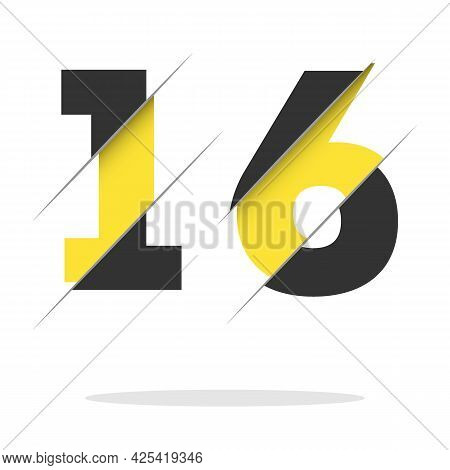 16 1 6 Number Logo Design With A Creative Cut And Black Circle Background. Creative Logo Design.