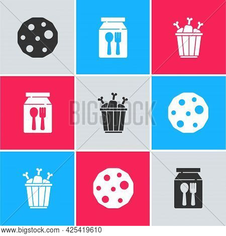 Set Cookie Or Biscuit, Online Ordering And Delivery And Chicken Leg Package Box Icon. Vector