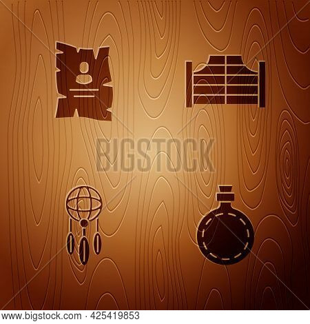 Set Canteen Water Bottle, Wanted Western Poster, Dream Catcher With Feathers And Saloon Door On Wood