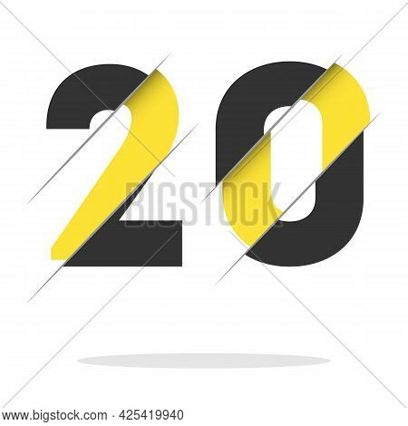 20 2 0 Number Logo Design With A Creative Cut And Black Circle Background. Creative Logo Design.